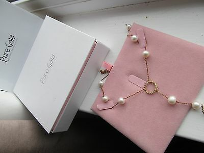 Fabulous Diamond + Pearl Circle Of Life Necklace From Dubai Pure Gold Jewellery