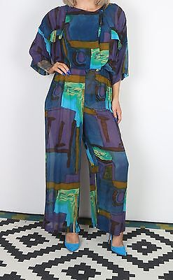 Jumpsuit UK 12 Medium approx. 1980's Patterned 80's All in one   (23C)