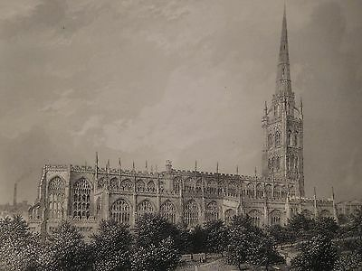 1880 Antique Engraved Print - St Michael's Church, Coventry