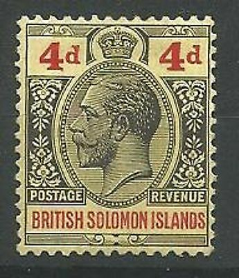 SOLOMON ISLANDS  1914-23 SG29 4d Black and Red/Yellow Mounted Mint
