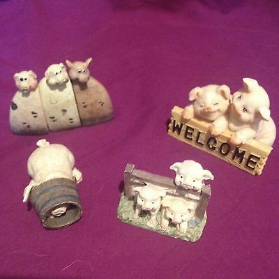 FOUR Pig Ornaments Figures Figurines Small