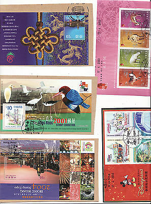 Hong Kong - 2001-2004 5 Used Minature Sheets Some On Piece