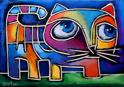 Oil Painting Cat Abstract Original Modern Art   FREE SHIPPING