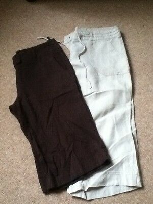 Ladies Linen Shorts And 3 Quarter Trousers Size 10