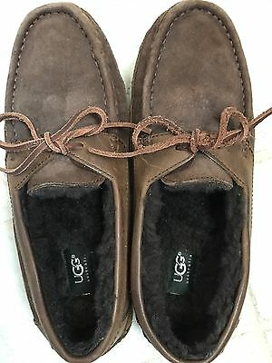 Uggs Authentic Men's Olsen Suede Moccasins Chocolate Brown, Size 9