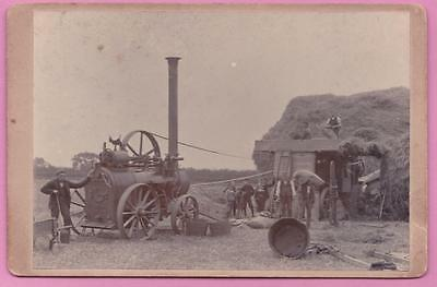 Cabinet Photograph Farm Workers Harvesting Steam Tractor Plumtree Nottingham
