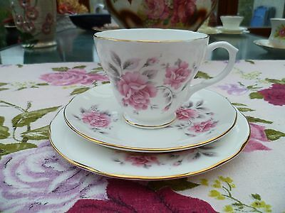 Lovely Duchess English China Trio Tea Cup Saucer Plate Pink Flowers