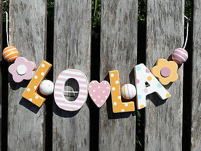 """lola"" Wooden Wall Letters Door Name Baby Shower Gift Nursery Decor Shabby Chic"