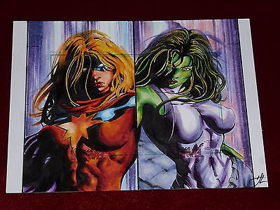 Women of Marvel Puzzle Sketch Card Awesome!! - Large 5 x 6 !