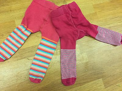 2x Marks & Spencer Bright Striped Rainbow Red Tights 0-3 0-6 Months