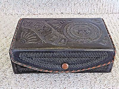 """Vintage Leather Box, House of Oppenheim, Hand Tooled 6 3/4""""x4""""x 2"""", Snap Closure"""