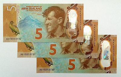 New Zealand $5 2015-New Issue-AE Prefix - Signed by Wheeler - Just released AA1