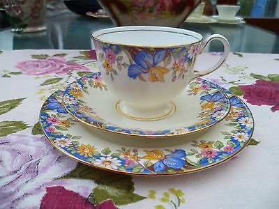 Pretty Vintage Aynsley English China Trio Tea Cup Saucer Mixed Flowers 3914