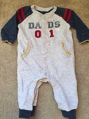 Baby Boys Sleepsuit, Play suit, 3-6 Mths, Grey, Daddy Logo, Mothercare