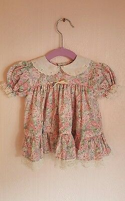 Vintage baby floral lace tea dress/top with peter pan collar 6-12 months