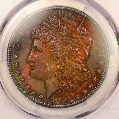 1880-S Morgan Silver Dollar *PCGS MS62* Attractive Rainbow Toning