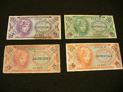 Military Payment Certificate Lot Series 641 Four notes assorted NR