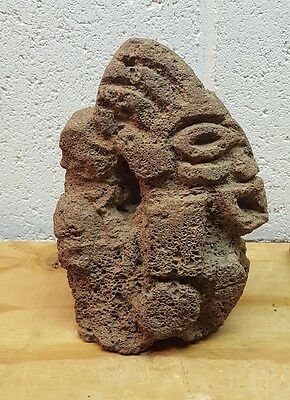 Pre Columbian Carved Stone Mayan/Aztec Face Antique Artifact
