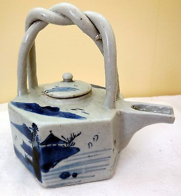Early Hand-Painted Pottery Japanese Sake Pot/Teapot