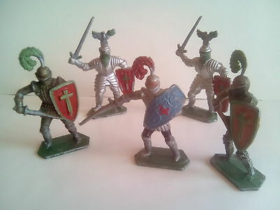 LONE STAR KNIGHTS X 5, VINTAGE TOY SOLDIERS, c1960'S *U.K.AUCTION ONLY*