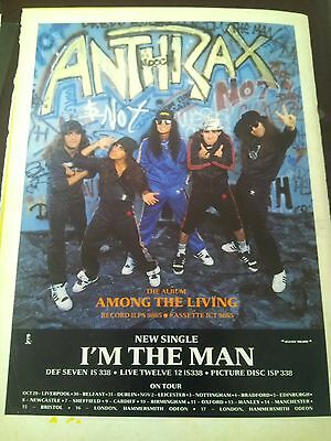 Anthrax Amoung the Living CD Advert + Tour Dates A4 Page Poster Kerrang 80's
