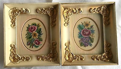 Two Roses/Floral Petit Point - Antiqued Gold Frame - Professionally framed (44)