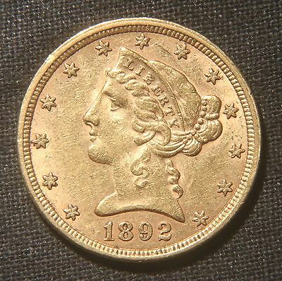 1892 $5 Liberty Head Gold Coin  Lot 190438