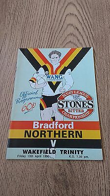 Bradford Northern v Wakefield Trinity April 1990 Rugby League Programme