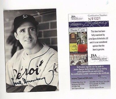 Hank Greenberg Jim Rowe Postcard Autographed Detroit Tigers Baseball JSA Close