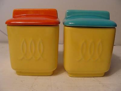Vintage Retro Franciscan Ware Jam / Jelly Lids Toastmaster Deluxe Colorful Pair