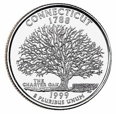 """State Quarter 25c Uncirculated Roll of 40 """" D """" Mint # 5 1999 Connecticut CT"""
