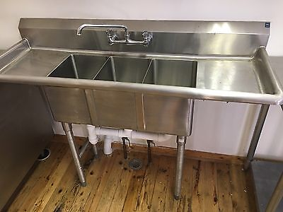 NSF Stainless Steel 3 Compartment Sink Unit & Faucets