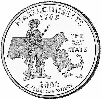 "State Quarter 25c Uncirculated Roll of 40 "" D "" Mint # 6 2000 Massachusetts MA"
