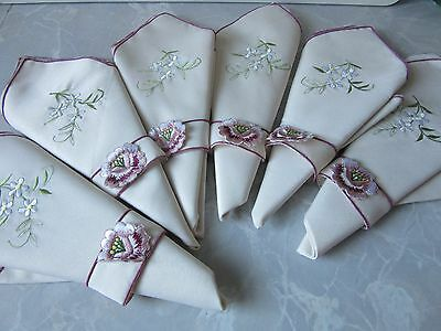 NEW Set of 6 Embroidered Floral fabric Napkins with floral design fastening 40cm