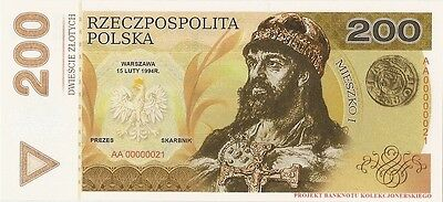 POLAND 200 ZLOTYCH  Project collector note Mieszko I / UNC