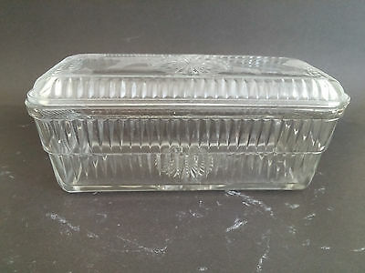 Clear Glass Refrigerator Dish with Star and Ribbed pattern
