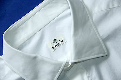 BORRELLI NAPOLI Mens Sz XL  HANDMADE Double Cuff White Dress Shirt Long Sleeve