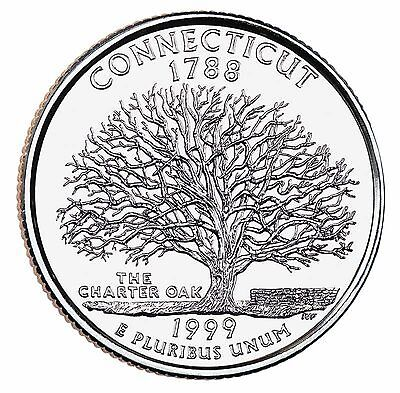 """State Quarter 25c Uncirculated Roll of 40 """" P """" Mint # 5 1999 Connecticut CT"""