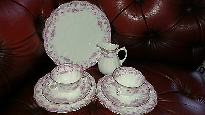 Allertons antique 'meredith' trio pink & white teaset for two scallop shape