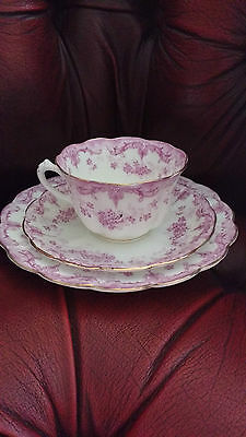 Allertons antique 'meredith' trio pink & white cup, saucer teaplate scallop shap