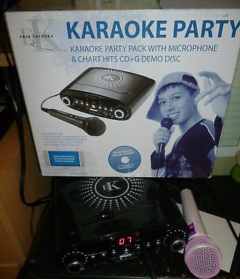 Easy Karaoke Party Karaoke Machine Player with Pink Mic & Movie CDG Disc Boxed