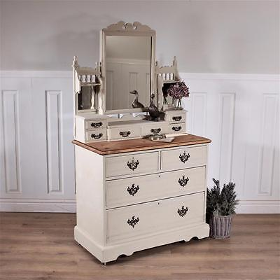 Shabby chic Dressing table solid French vanity chest of drawers antique mirror
