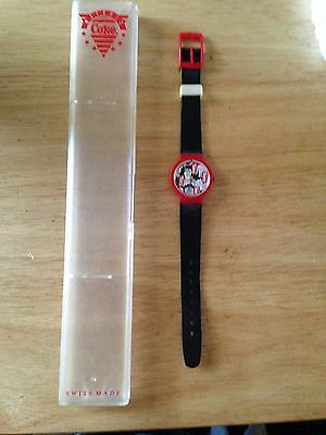 Plastic Coca Cola Watch With Case, Swiss Made!