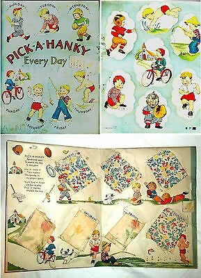 PICK-A-HANKY EVERY DAY ~ 1940 CHILDRENS BOYS ACTIVITY BOOK with HANDKERCHIEFS