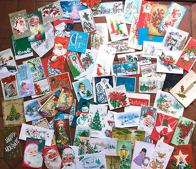 VINTAGE CHRISTMAS CARDS LOT OVER 160 - 1950's