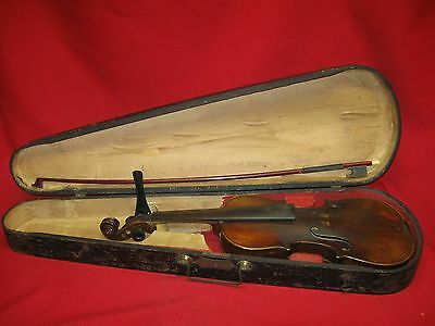 Antique Carl Vulzar 3/4 Violin With Wooden Coffin Style Case And Bow