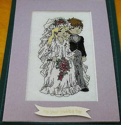 Machine Stitched Completed Cross Stitch 'Pretty Wedding Day couple' ex lg card