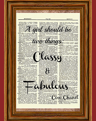 Coco Chanel Dictionary Art Print Picture Vintage Poster Classy & Fabulous Quote