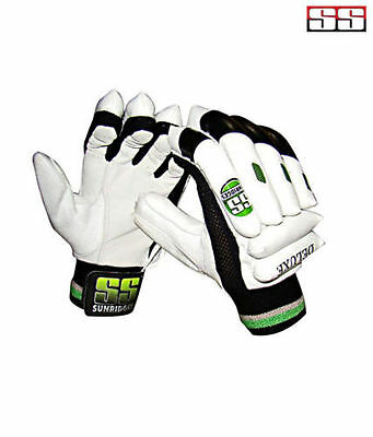 Ss Deluxe Leather Cricket Batting Gloves +Free Shipping