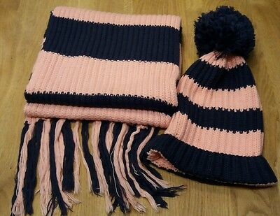 Jack Wills chunky knit - Hat & Scarf Set - Pink/Navy